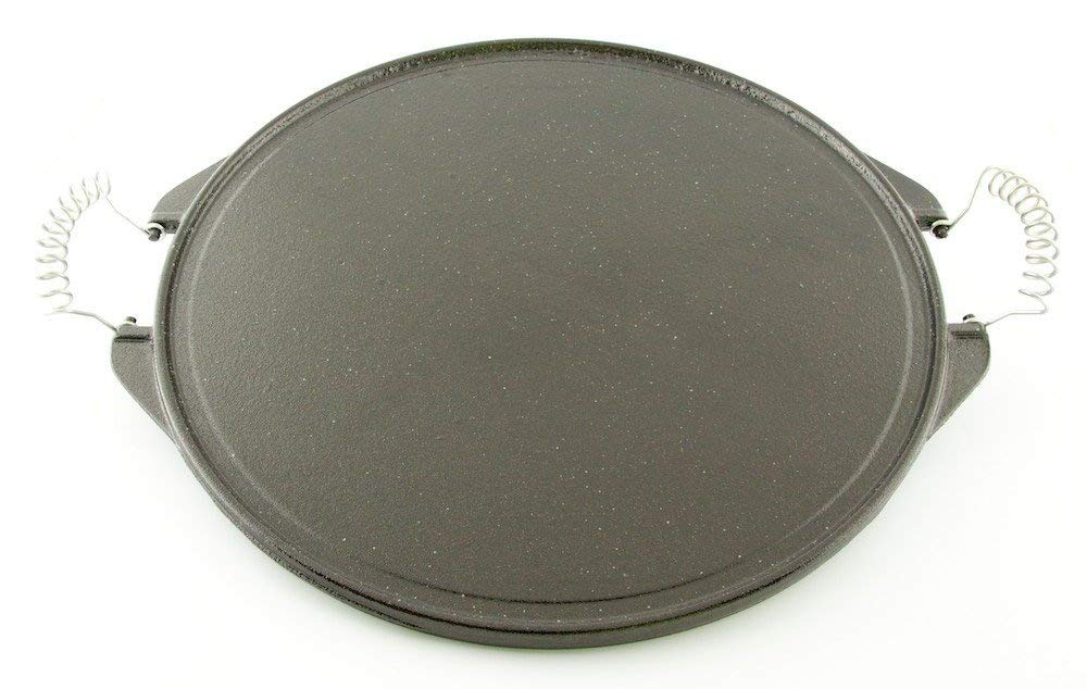 Round Plate in Garcima Vetrified Iron Ø 42 cm Striped Side and Smooth Side with Two Handles