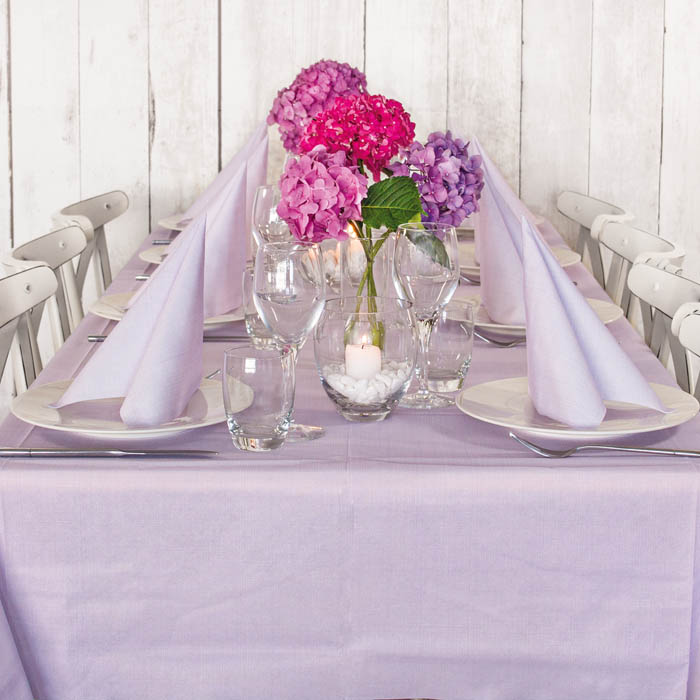 Tablecloth and 10 Napkins Softy Lilac Kit 100% Biodegradable Disposable Ready Table by Pack Service Italia