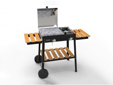 <OK> Barbecue Bio Cooking Ferraboli Barbecue a Gas GPL con Pietra Lavica e Ruote per Facilitare il Trasporto