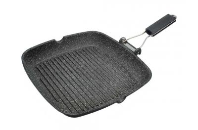 Bistecchiera Quadrata Rock Line con Manico Pieghevole per Cucinare Sano