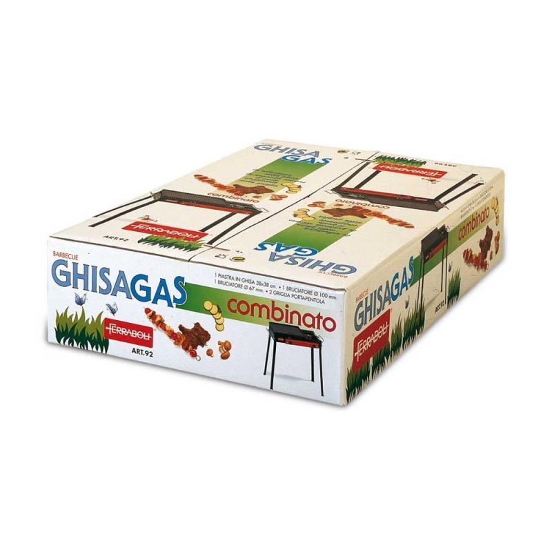 Combinato Ferraboli Barbecue a Gas GPL in Lamiera Acciaio Verniciato Con Piastra Ghisa Fornello e Porta Pentola