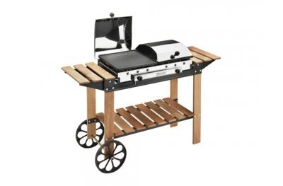 Legno Inox Ferraboli Barbecue a Gas Per Giardino e Portico di Casa con Ruote e Mensole per Appoggiare Strumenti di Cucina