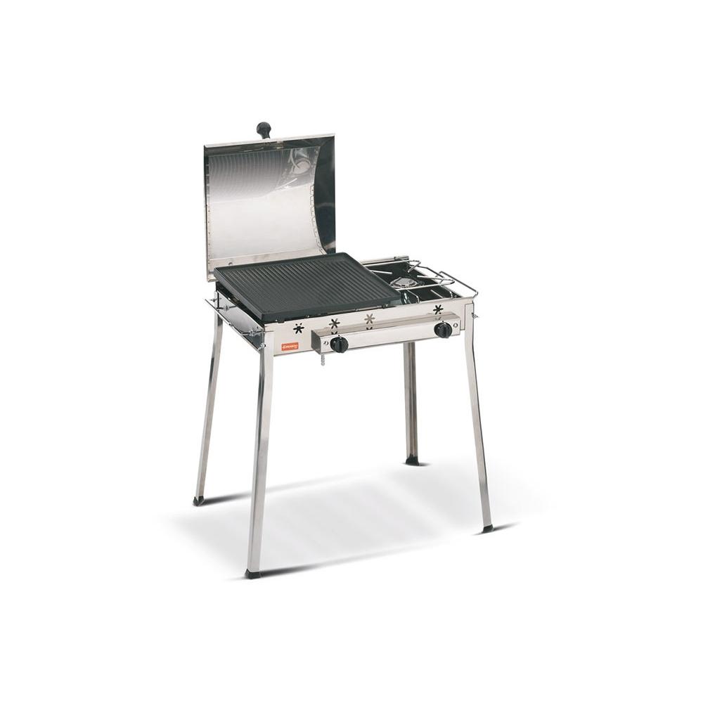 Combinato Inox Ferraboli Barbecue a Gas GPL con Coperchio per Migliore Cottura Omogenea e Veloce di Carne e Verdura