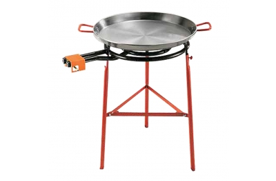 Paella Set Completo Padella Spagnola in Ferro Ø 60 cm con Fornello e Supporto Made in Spain by Garcima