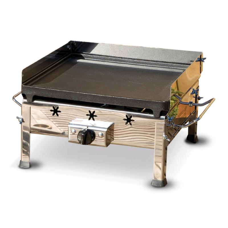 Plancha Inox Ferraboli Barbecue a Gas GPL in Ghisa e Inox Senza Gambe da Appoggiare su Tavolo o Altro Supporto