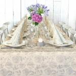 Set Tovaglia e 10 Tovaglioli Florence Greige e Decorazione Floreale 100% Compostabile per Eventi Pack Service Italia