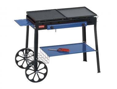 Stereo Ferraboli Barbecue a Gas GPL su Ruote con Piani di Appoggio e Piastre Inclinabili per Maggiore Pulizia in Fase di Cottura