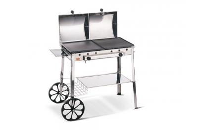 Stereo Inox Ferraboli Barbecue a Gas GPL con Ruote 2 Piastre e 2 Coperchi Indipendenti con Comodi Piani e Mensole Made in Italy